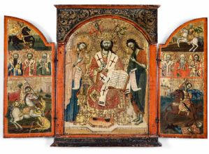 Extraordinary Greek triptych with gold background, 17th century.