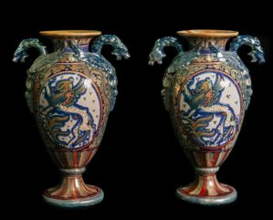 Pair of luster ceramic vases