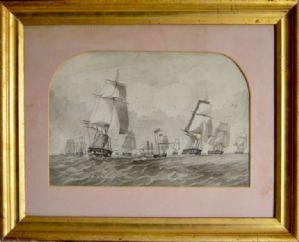 "Marina com veleiros, ""grisaille"" 800."